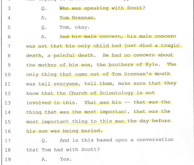 Victoria Britton, Deposition, Brennan's lack of emotions, 001