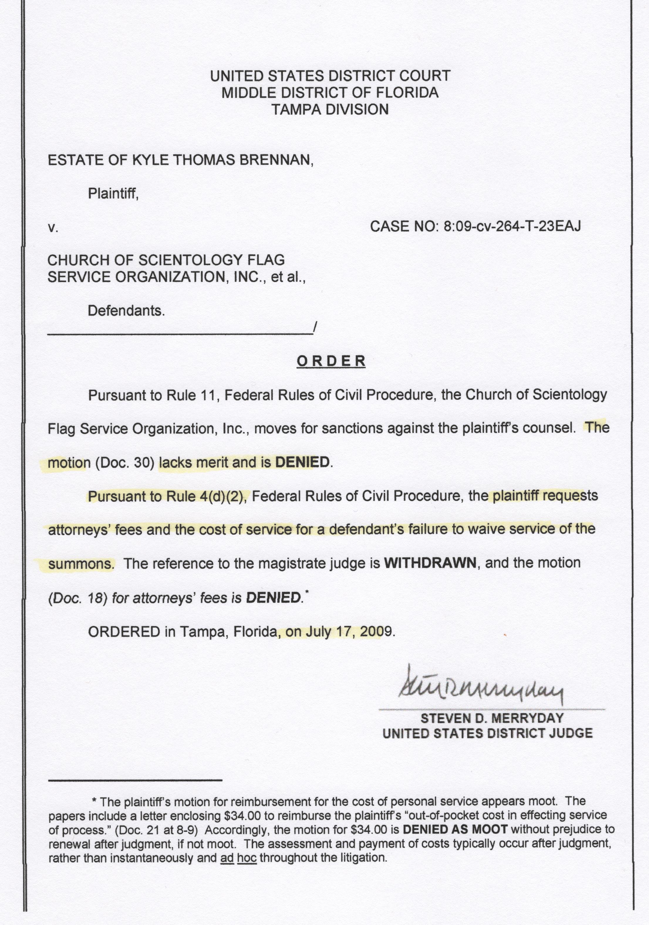 Judge Steven D. Merryday, Sanctions against Brennan 001