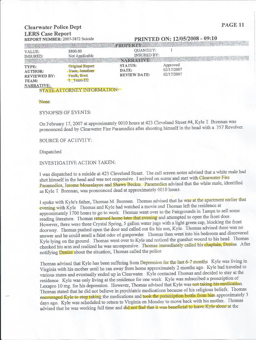 The Clearwater Police Report Lies of Omission The Truth for – Sample of a Police Report