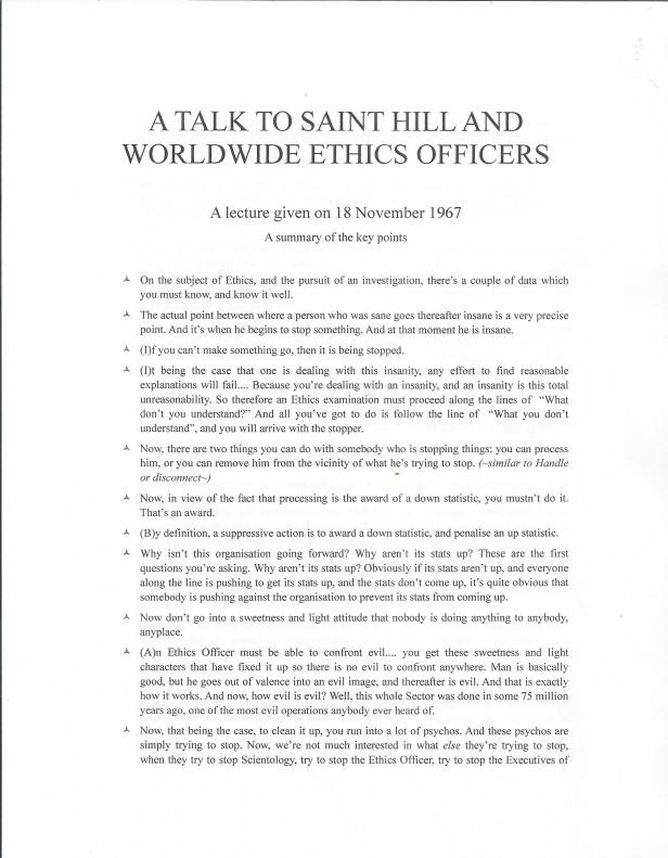 Saint Hill Lecture Page one 001