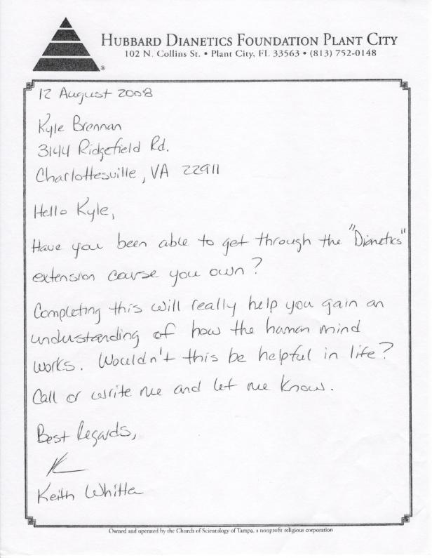 Scientology Letter sent to Kyle 1 001