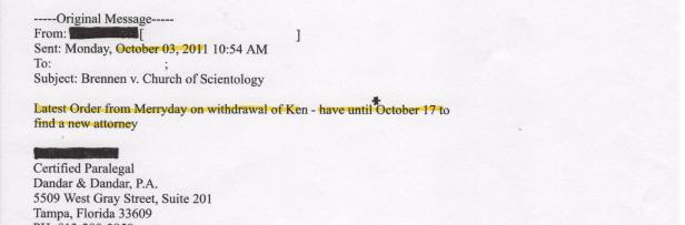Judge Stephen D. Merryday, Kyle Brennan, Scientology, 001