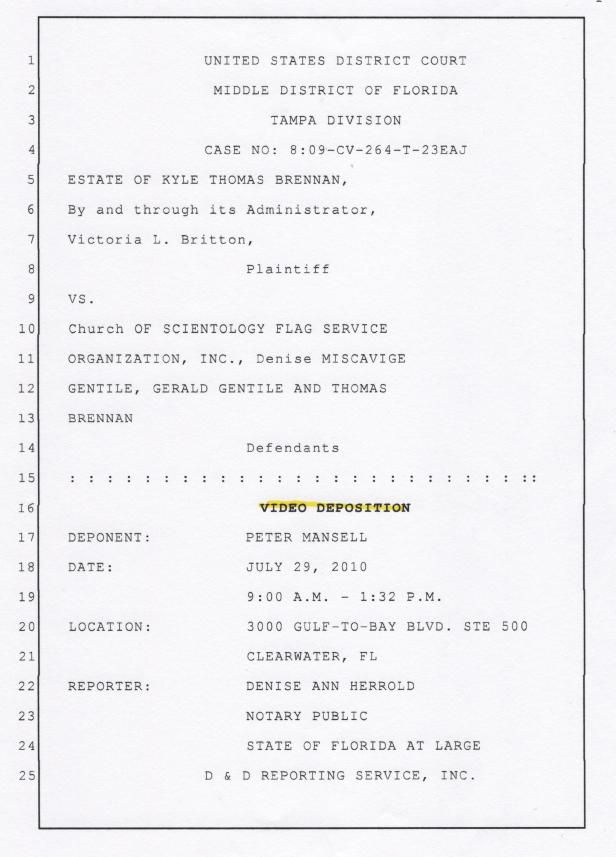 Peter Mansell Deposition Page 001