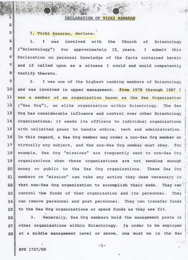 Vicki Aznaran Declaration. Judge Krentzman, David Miscavige 001