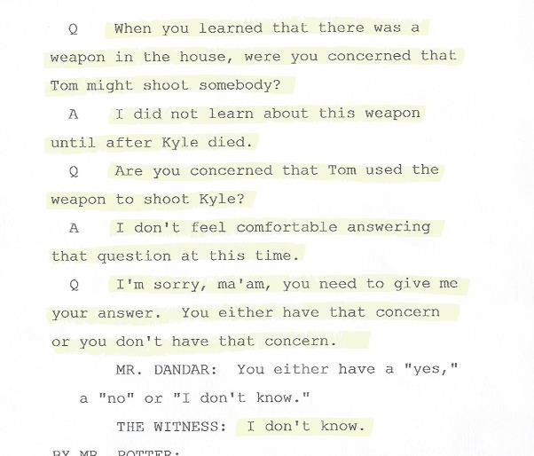 Page 124 Britton Deposition,CWP Investigation, Question, weapon, 001