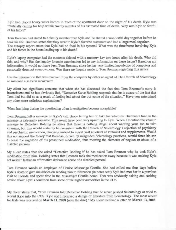 Kyle Brennan, Luke Lirot, Scientology, Clearwater, Page 2, letter to Bohling 001